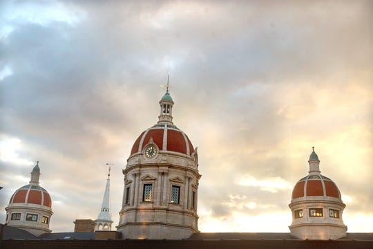 These are the domes of the old York County Courthouse with Christ Lutheran Church poking up in the background.