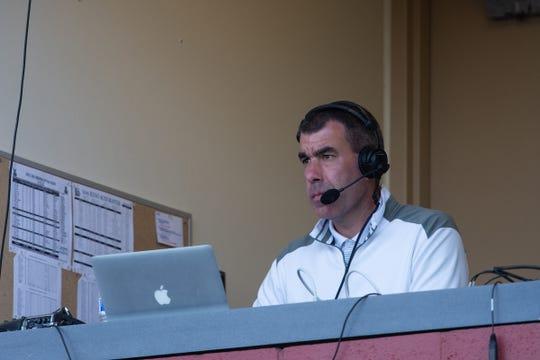 Ryan Radtke at work at recent Reno Aces baseball game.