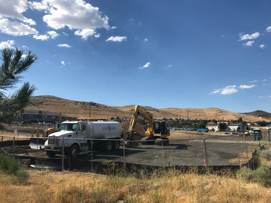 Preliminary site work continues at the future Chase Bank on Los Altos Parkway at Pyramid Highway in Spanish Springs.