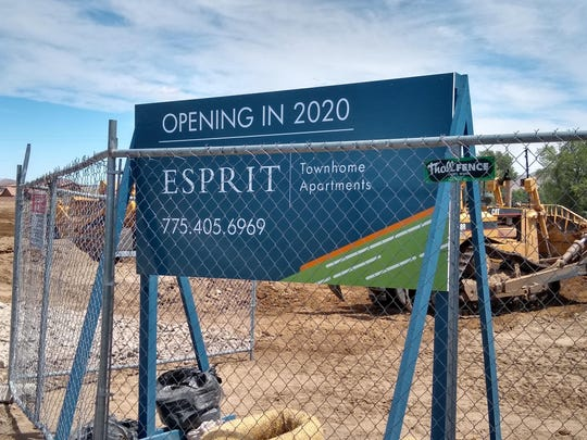 Construction work continues in south Reno on Esprit Townhome Apartments.