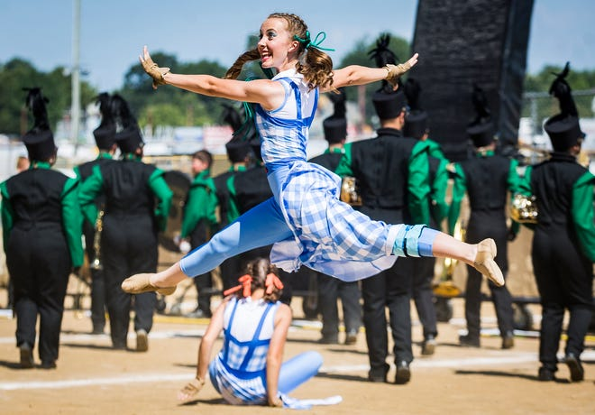 Northeastern competes during the 2019 Indiana State Fair Band Day at the Hoosier Lottery Grandstands.