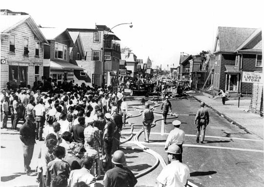 Clarissa Street in the aftermath of a helicopter crash.