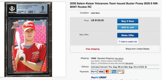 A screen capture of a listing for a 2008 rookie card for Buster Posey on EBAY.