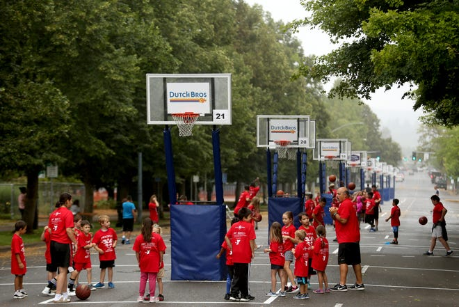 The free Hoopla Kid's Clinic outside the Oregon State Capitol in Salem on Aug. 2, 2019.