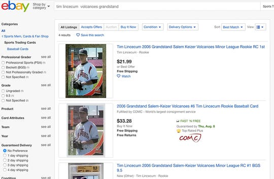 A screen capture of listings for a 2006 rookie card for Tim Lincecum on EBAY.