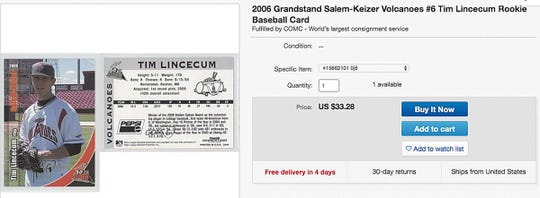 A screen capture of a listing for a 2006 rookie card for Tim Lincecum on EBAY.