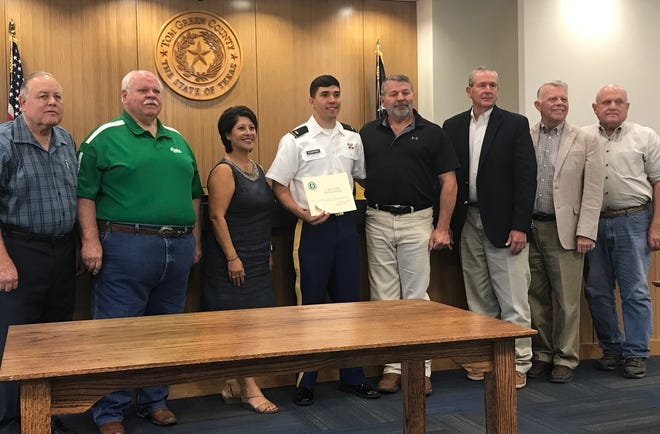 Tom Green County Judge Steve Floyd welcomed new 2nd Lt. Austin Douglas Semand and his parents to Commissioners Court this week, where he was presented with a certificate of appreciation from the court.  Semand graduated from the United States Military Academy at West Point, New York, this year and he talked about his time at the school, and briefly discussed his plans for the future, which include advanced training at the Army's Explosive Ordinance School atFort Lee, Virginia.  Semand is a graduate of Wall High School.