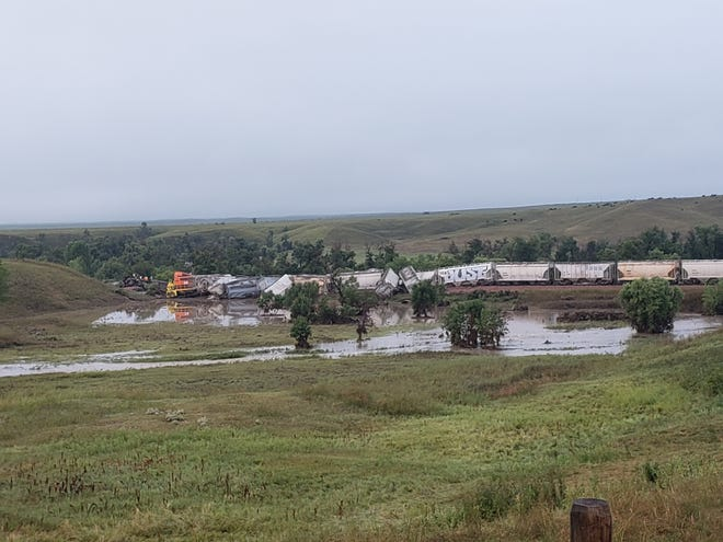 A train derailed near New Underwood, South Dakota on Friday, Aug. 2, 2019, injuring two people.
