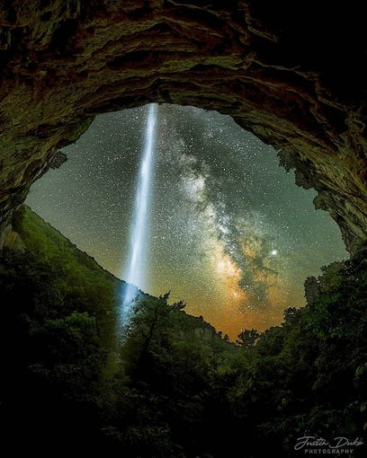 Justin Duke captured this image of Hemmed-in-Hollow waterfall and the Milky Way during an outing near the Buffalo River.