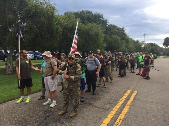 "Veterans and community members line up for the ""Ruck for Our Veterans"" on June 29, 2019 in Vero Beach."