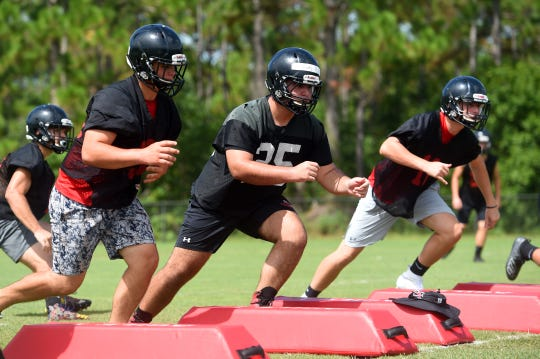 South Fork players participate in drills during practice Aug. 2. The Bulldogs beat Suncoast 34-6 in a kickoff classic Friday, Aug. 16.