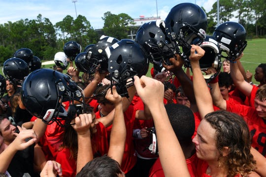 South Fork High School's football team wraps up practice on Aug. 2, 2019.