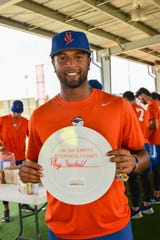 St. Lucie Mets' Luis Carpio supports the Strike Out Hunger campaign in 2018.