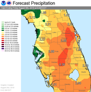 Rainfall forecast for Florida