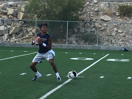 UTEP quarterback TJ Goodwin gets some throwing in after the first practice of the year Tuesday, July 30, 2019.