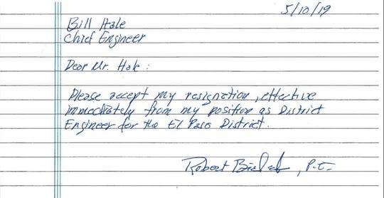 A copy of former TxDOT district engineer Bob Bielek's resignation letter.