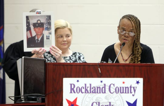 Organ recipients Roxanne Watson, right, and Tara McKeegan speak about organ donation during a naturalization ceremony at the Rockland County Fire Training Center in Pomona  Aug. 2, 2019. Rockland welcomed 135 new citizens from 40 countries.
