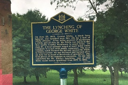 The historical marker detailing the lynching of George White was stolen from its home in Greenbank Park, police say.