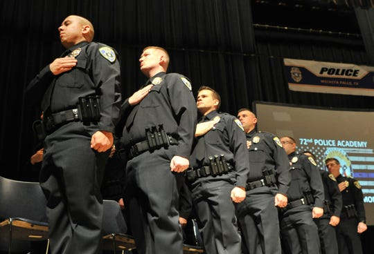 In this file photo, Wichita Falls Police Department welcomed 15 new officers from the 72nd WFPD academy. Numbers of applicants to the force dwindled this year with only 15-17 applicants making it past the initial screening tests. The city hopes a 5 percent pay increase for fire and police will help recruit and retain qualify staff.