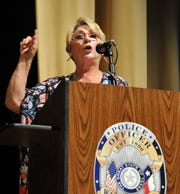Wichita County Justice of the Peace Janice R. Sons speaks to the 72nd Police Academy recently. Sons is retiring at the end of December, bringing a 31-year career to a close.
