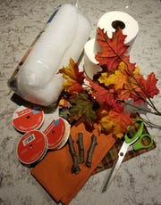 Materials needed to make bath tissue pumpkins include: Materials needed: rolls of bathroom tissue, roll of quilting batting (available at local craft or fabric stores), large fabric scraps of your choice, scissors and embellishments.