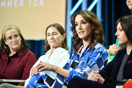 "Marja-Lewis Ryan, Ilene Chaiken, Jennifer Beals and Katherine Moennig of ""The L Word: Generation Q"" speak during the Showtime segment of the 2019 Summer TCA Press Tour."