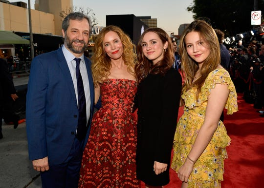 """Judd Apatow, Leslie Mann, Maude Apatow and Iris Apatow attend the premiere of Universal Pictures' """"Blockers"""" at Regency Village Theatre on April 3, 2018 in Westwood, California."""