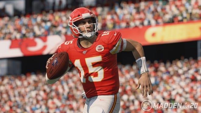 "Kansas City Chiefs quarterback Patrick Mahomes in ""Madden NFL 20."""