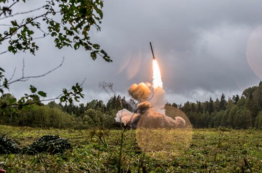 This undated file photo provided Tuesday, Sept. 19, 2017, by Russian Defense Ministry official web site shows a Russian Iskander-K missile launched during a military exercise at a training ground at the Luzhsky Range, near St. Petersburg, Russia.