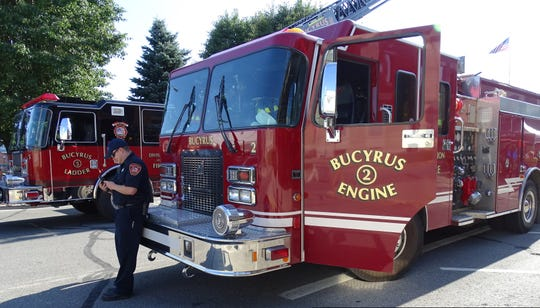 A Bucyrus Fire Department truck is displayed during the August First Friday event in downtown Bucyrus. On Thursday, Bucyrus City Council voted to purchase a new firetruck for the department.