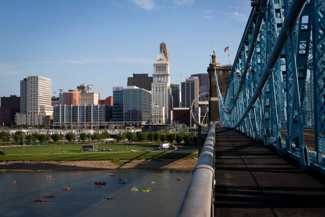 A view of the 18th annual Ohio River Paddlefest from the John A. Roebling Suspension Bridge on Saturday, August 3, 2019.