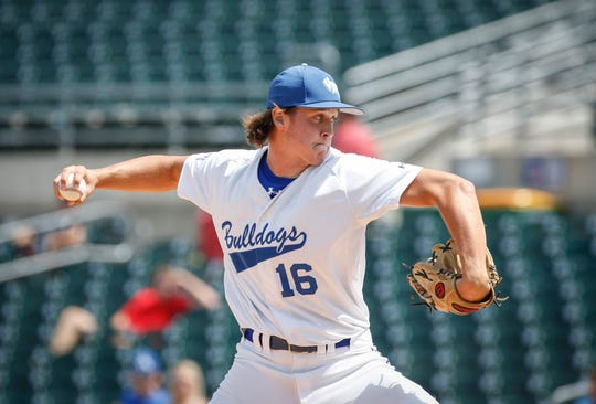 Van Meter junior pitcher Anthony Potthoff fires a pitch against North Linn in the Iowa Class 2A state baseball championship game on Saturday, Aug. 3, 2019, at Principal Park in Des Moines.
