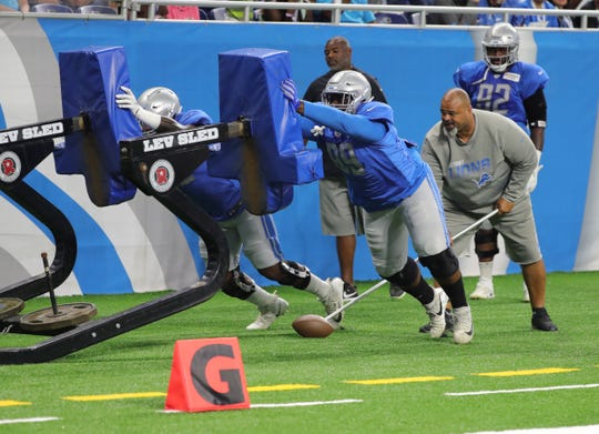Detroit Lions defensive pilot John Atkins (99) is training in 2019.  Friday, Aug. 2, at Ford Field.