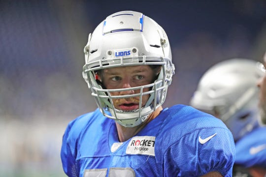 Detroit Lions defensive end Mitchell Loewen practices Friday, August 2, 2019 at Ford Field.