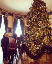 Macomb County Public Works Commissioner Candice Miller, left, and Oakland County Executive L. Brooks Patterson at the White House Christmas Party during Miller's tenure in Congress.