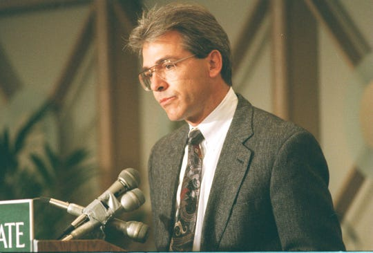 Nick Saban talks at a news  conference announcing him as the successor to George Perles as football coach at Michigan State University after the 1994 season.
