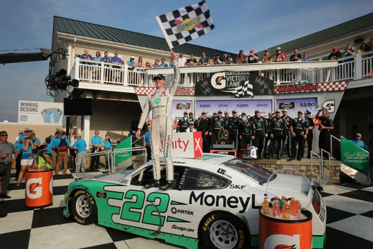 Austin Cindric celebrates after winning the NASCAR Xfinity Series race at Watkins Glen International on Saturday.