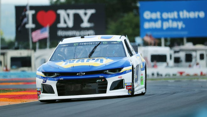 """Chase Elliott drives through the area of the course called """"The Bus Stop"""" during a practice run at Watkins Glen on Saturdya."""