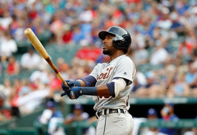 New Tiger Travis Demeritte recorded his first MLB hit, a triple, against the Rangers in the seventh inning on Friday.