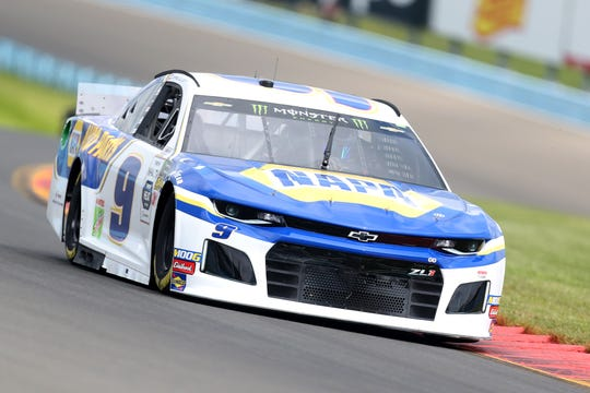 WATKINS GLEN, NEW YORK - AUGUST 03: Chase Elliott, driver of the #9 NAPA AUTO PARTS Chevrolet, drives during practice for the Monster Energy NASCAR Cup Series Go Bowling at The Glen at Watkins Glen International on August 03, 2019 in Watkins Glen, New York. (Photo by Matt Sullivan/Getty Images)