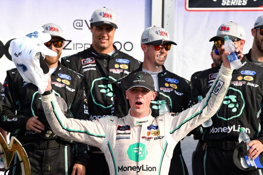 NASCAR Xfinity Series driver Austin Cindric (22) celebrates in victory lane following the Zippo 200 at The Glen at Watkins Glen International on Aug. 3, 2019.