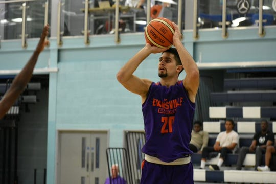 Sam Cunliffe shoots during Evansville's exhibition Saturday against the London Lions.