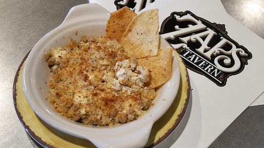 Kraut ball dip with tortilla chips at Zaps Tavern.