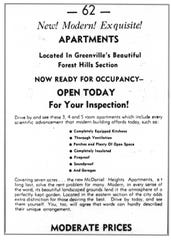 McDaniel Heights Apartments ranged from efficiencies to three bedrooms, many with balconies, and with every service provided. But they were expensive--a two-bedroom apartment was advertised for $80 a month in 1940.