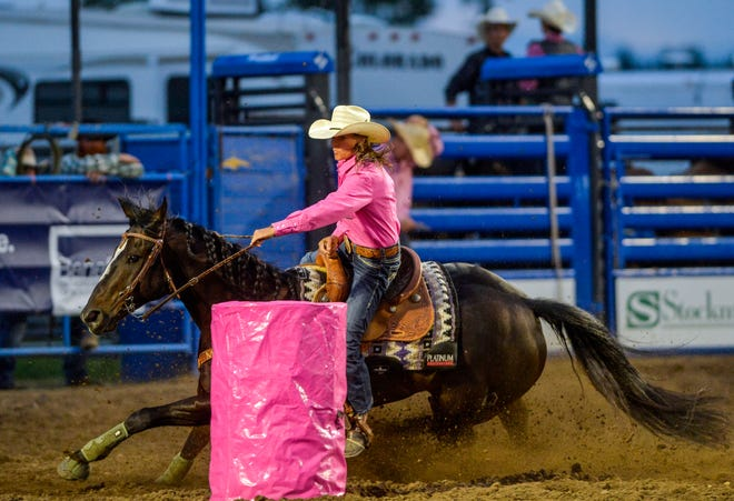 Lisa Lockhart competes in the barrel racing event during the Big Sky Pro Rodeo Roundup. The Circle native qualified for her 14th consecutive NFR despite the challenges to this rodeo season with the COVID-19 pandemic.