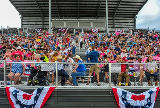 Rodeo fans fill the grandstands at ExpoPark for the Big Sky Pro Rodeo Roundup at the Montana State Fair, August 2, 2019.
