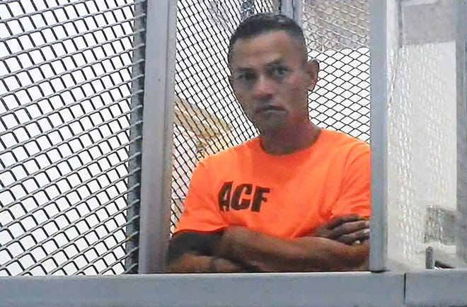 Suspect Joshua Palacios appears before Magistrate Judge Benjamin Sison Jr., via a video feed, for his magistrate hearing at the Superior Court of Guam on Saturday, Aug. 3, 2019. Palacios faces a charge of murder and another charge, in relation to the July 28 shooting death of Keith Castro.