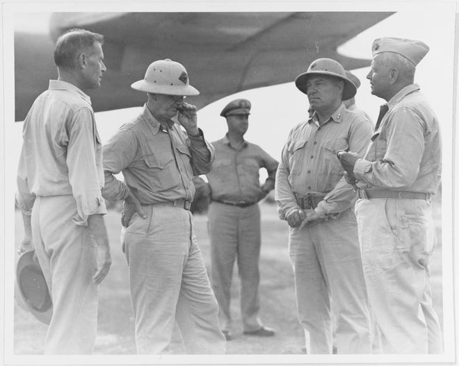 Navy and Marine Corps leaders at Guam's Orote Peninsula airfield, Aug. 10, 1944, after the island's recapture by American forces. They are, from left: Adm. Raymond A. Spruance; Marine Corps Lt. Gen. Holland M. Smith; Rear Adm. Richard L. Conolly; Marine Corps Maj. Gen.Henry L. Larsen; and Marine Corps Maj. Gen. Roy S. Geiger
