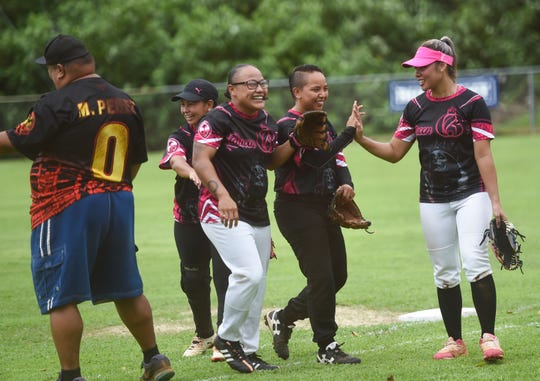 Adztech takes on the Queen B's for an APL Women's Fastpitch Softball League game at the Mike S. Tajalle Baseball Field in Piti, Aug. 3, 2019.