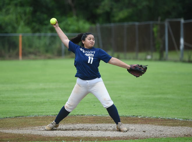 Adztech pitcher Meagan Maratita winds up on a pitch against Queen B's during their APL Women's Fastpitch Softball League game at the Mike S. Tajalle Baseball Field in Piti, Aug. 3, 2019.